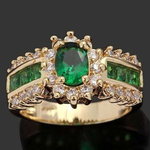 14 K Gold Plated ~ EMERALD ~ WHITE SAPPHIRE RING 8